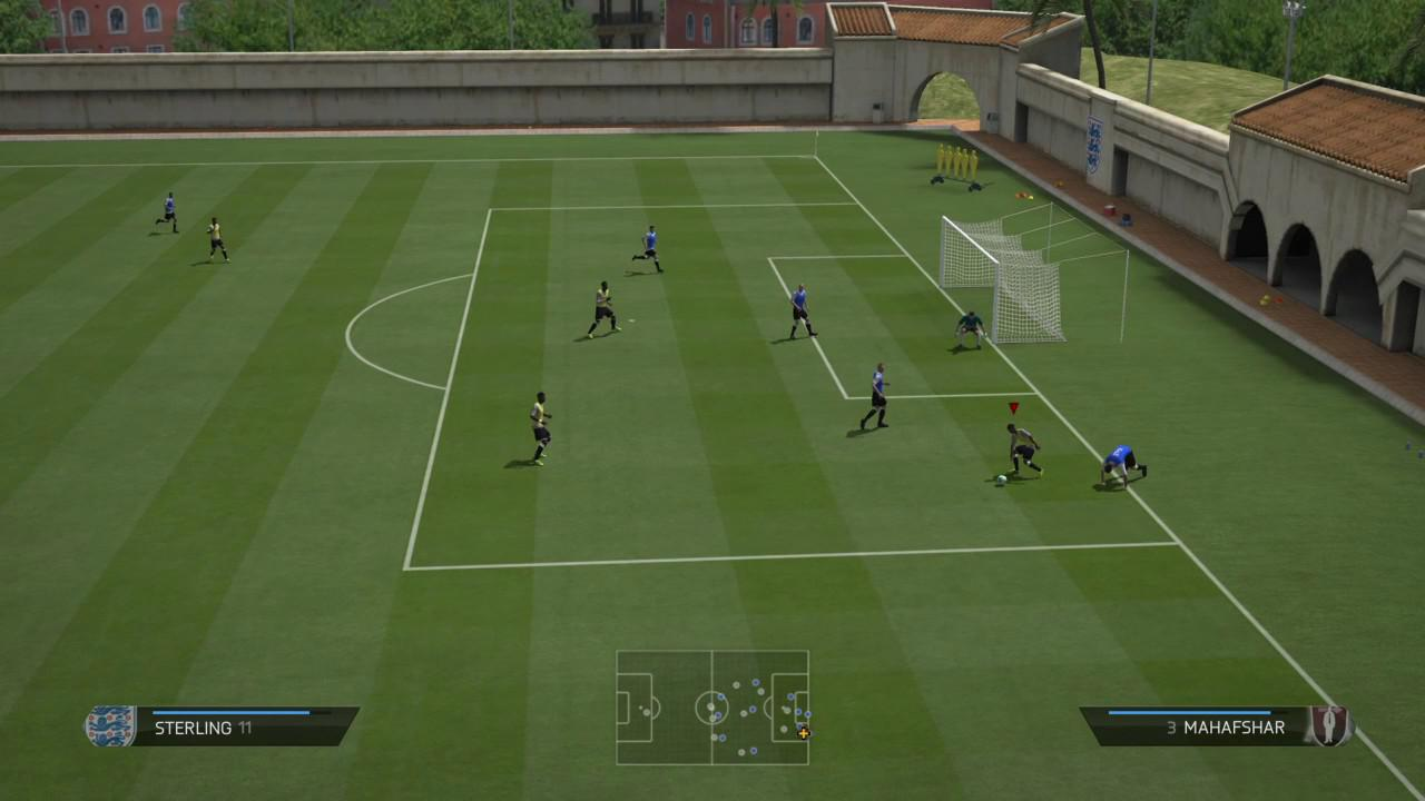 A practice match taking place in FIFA 14 – one of the last in the series to have the function