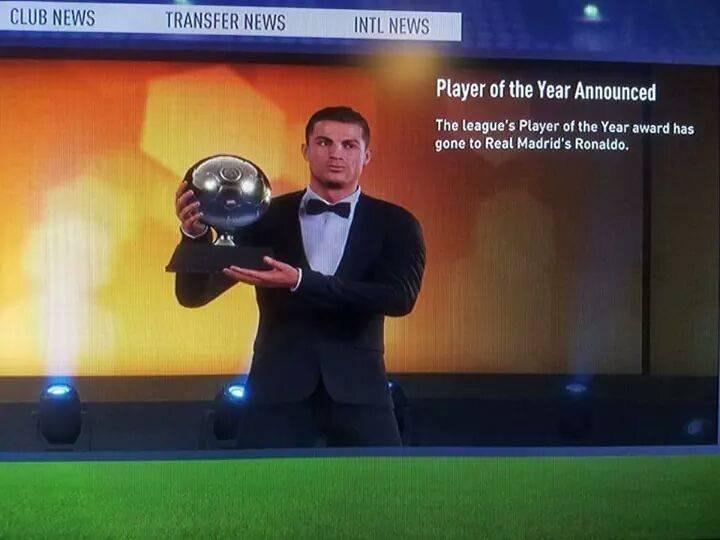 A screenshot has emerged showing Cristiano Ronaldo getting an award in FIFA 18 Career Mode