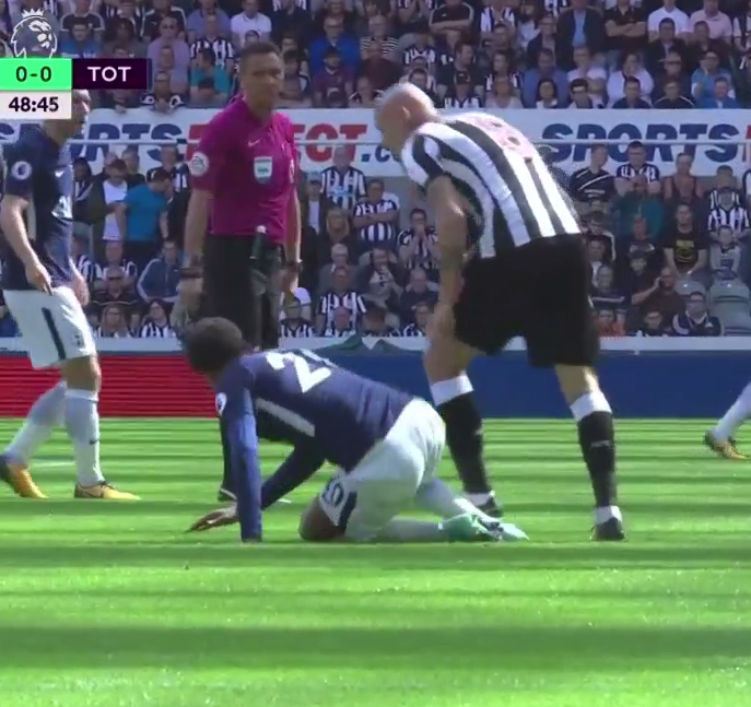 Shelvey needlessly stamps on Alli right in front of Marriner