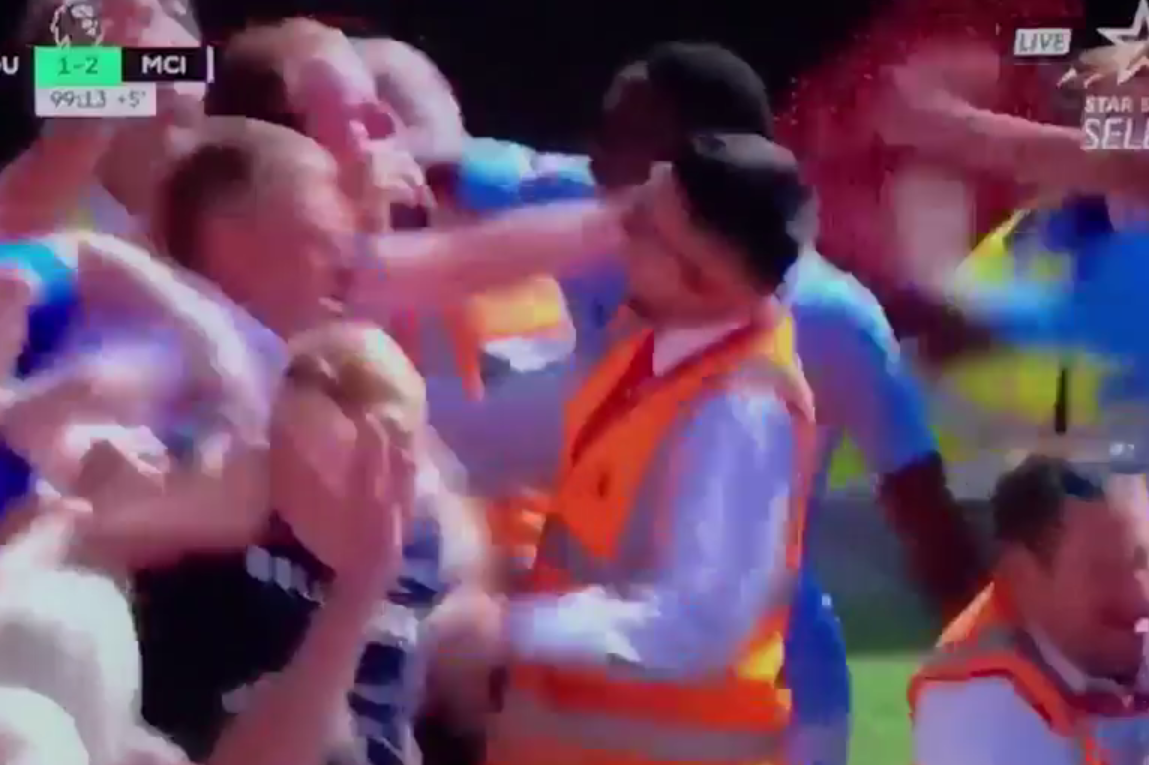 Sterling joins the City fans after his winner