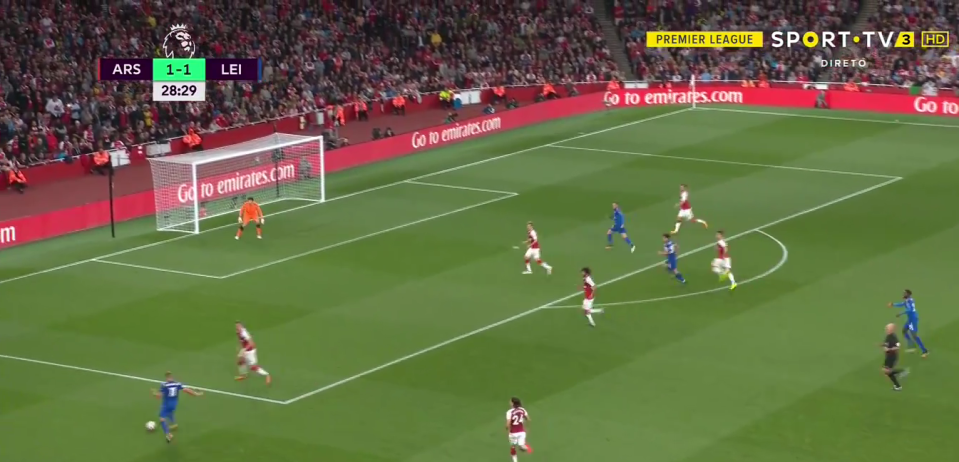 Leicester's left-winger carried the ball before whipping in an inch-perfect cross