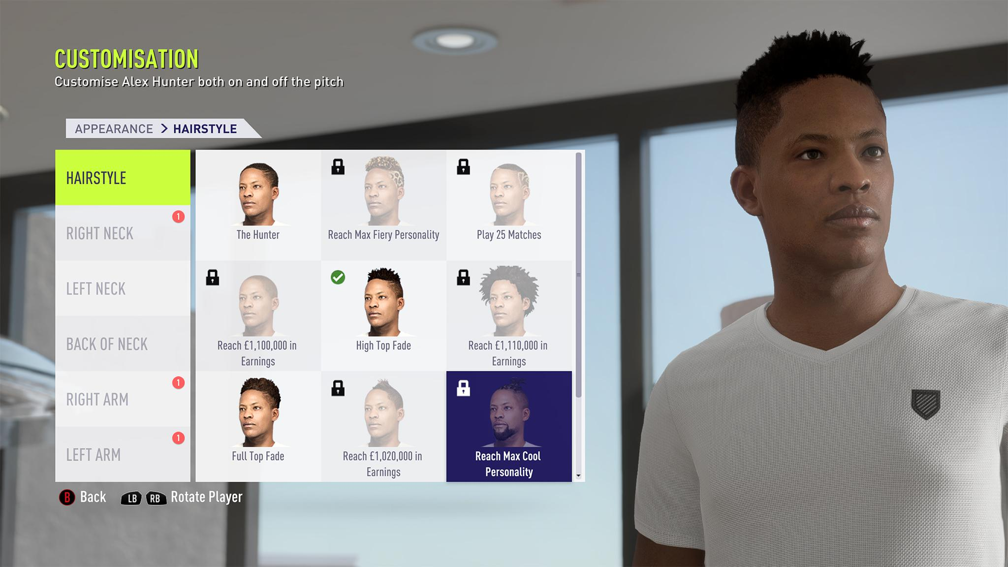 EA Sports has revealed the extent to which you'll be able to customise Alex Hunter