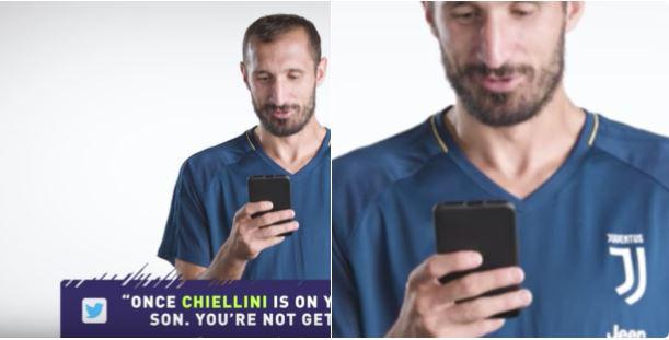 Chiellini is holding his phone upside down in the trailer