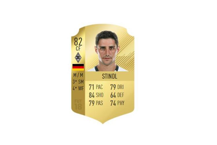 Stindl is a solid 82 on FIFA 18