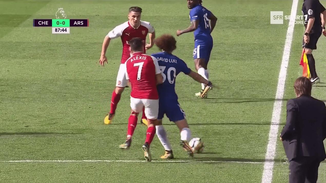 Luiz lost control under pressure from Alexis Sanchez