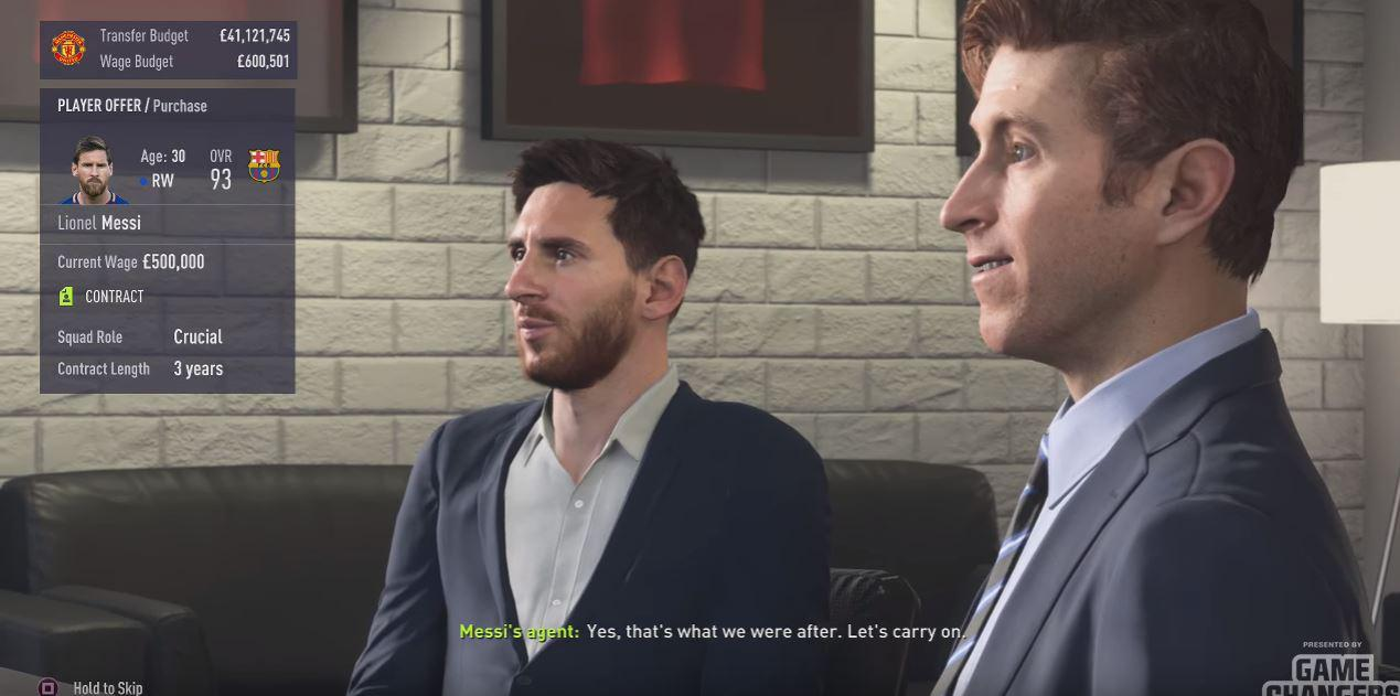 Lionel Messi is seen in Career Mode for the first time