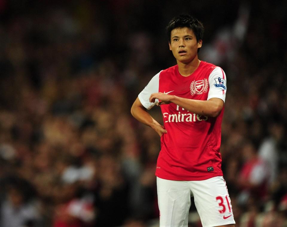 A rare sighting of Miyaichi in an Arsenal kit