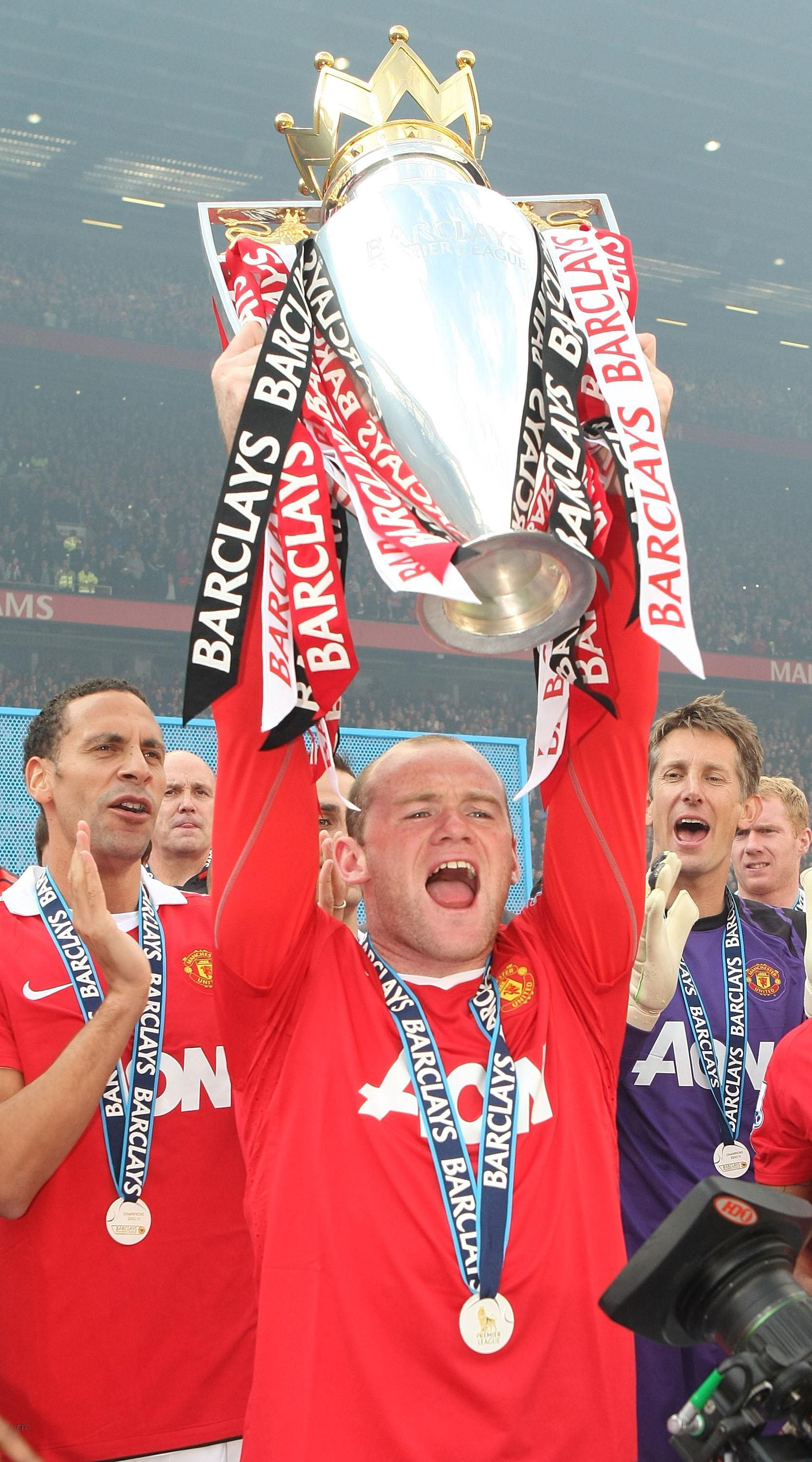 Rooney won five Premier League titles with United