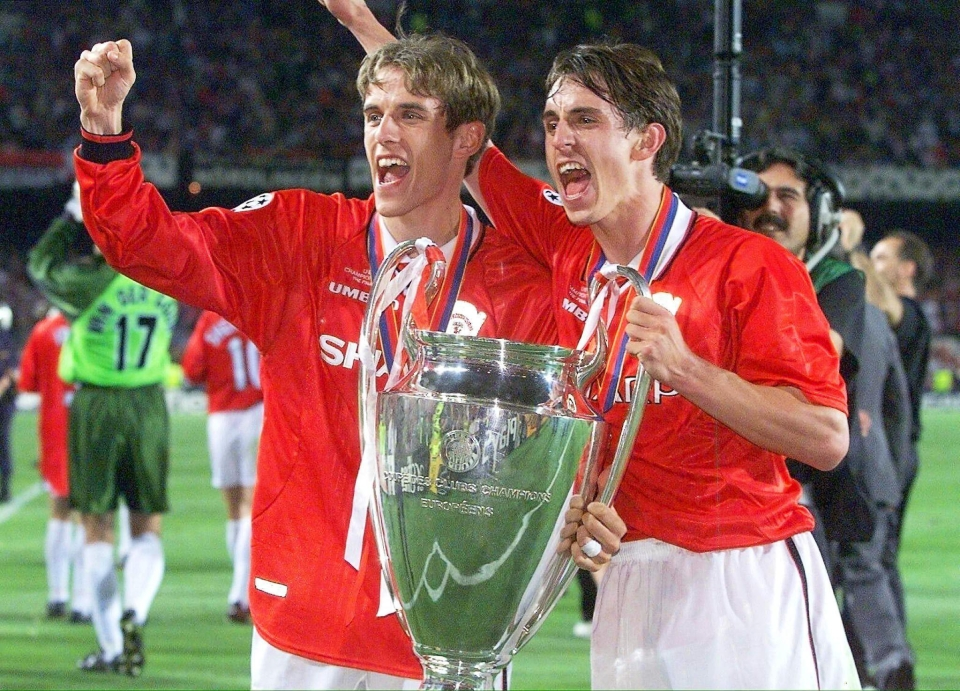 Phil Neville and brother Gary were part of Manchester Uniteds treble-winning side in 1999