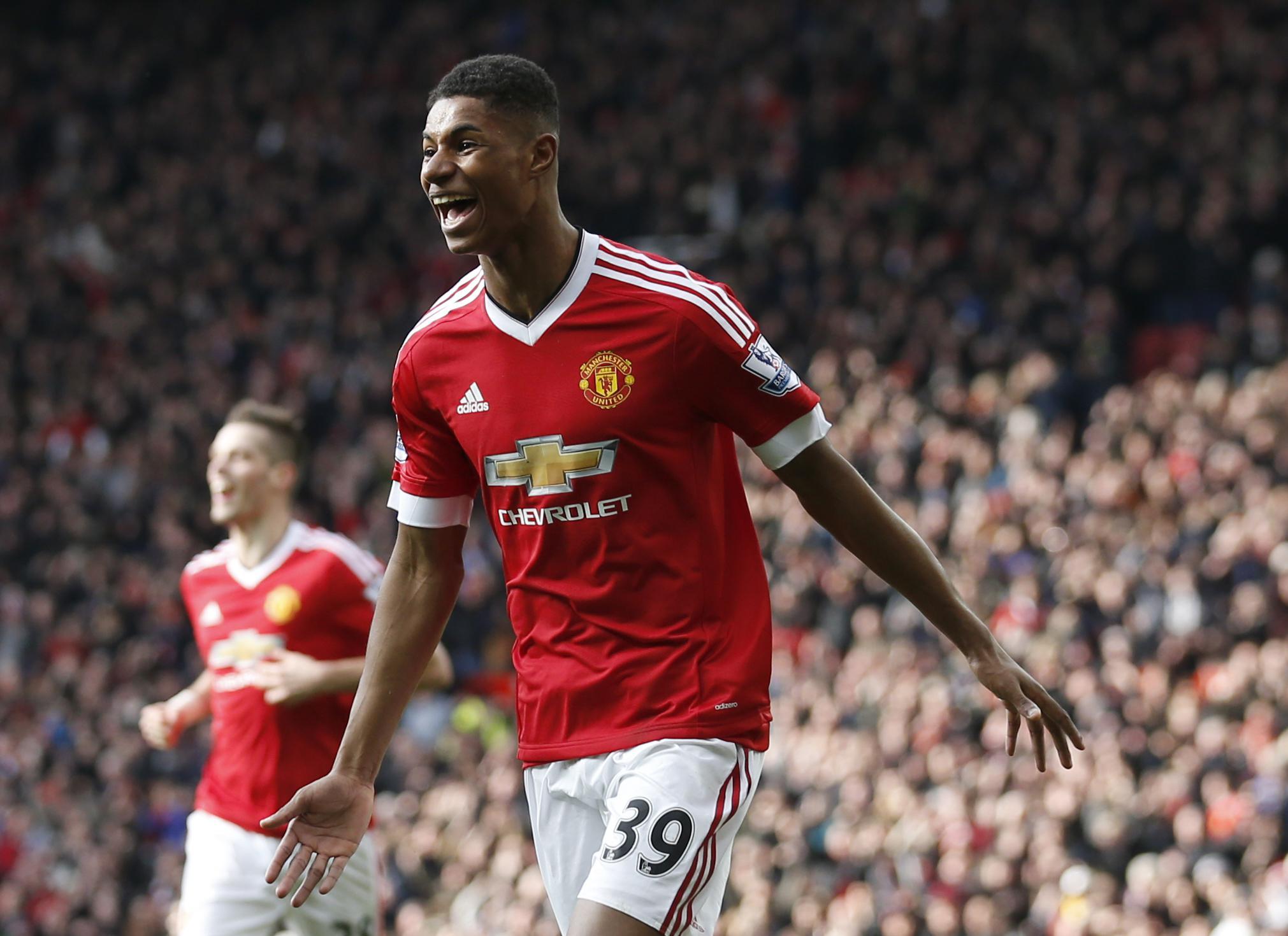 Rashford celebrates against Arsenal