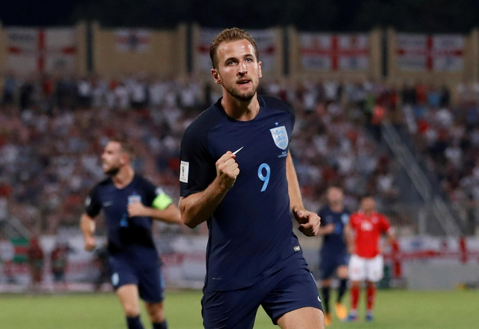 Harry Kane celebrates scoring against Malta on Thursday