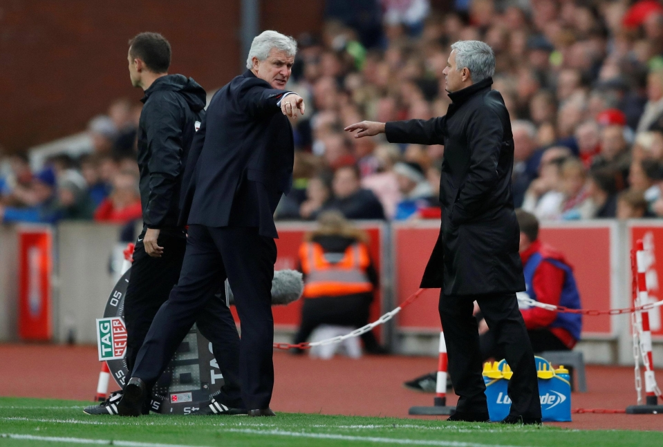 Mark Hughes and Jose Mourinho were embroiled in a war of words towards the end