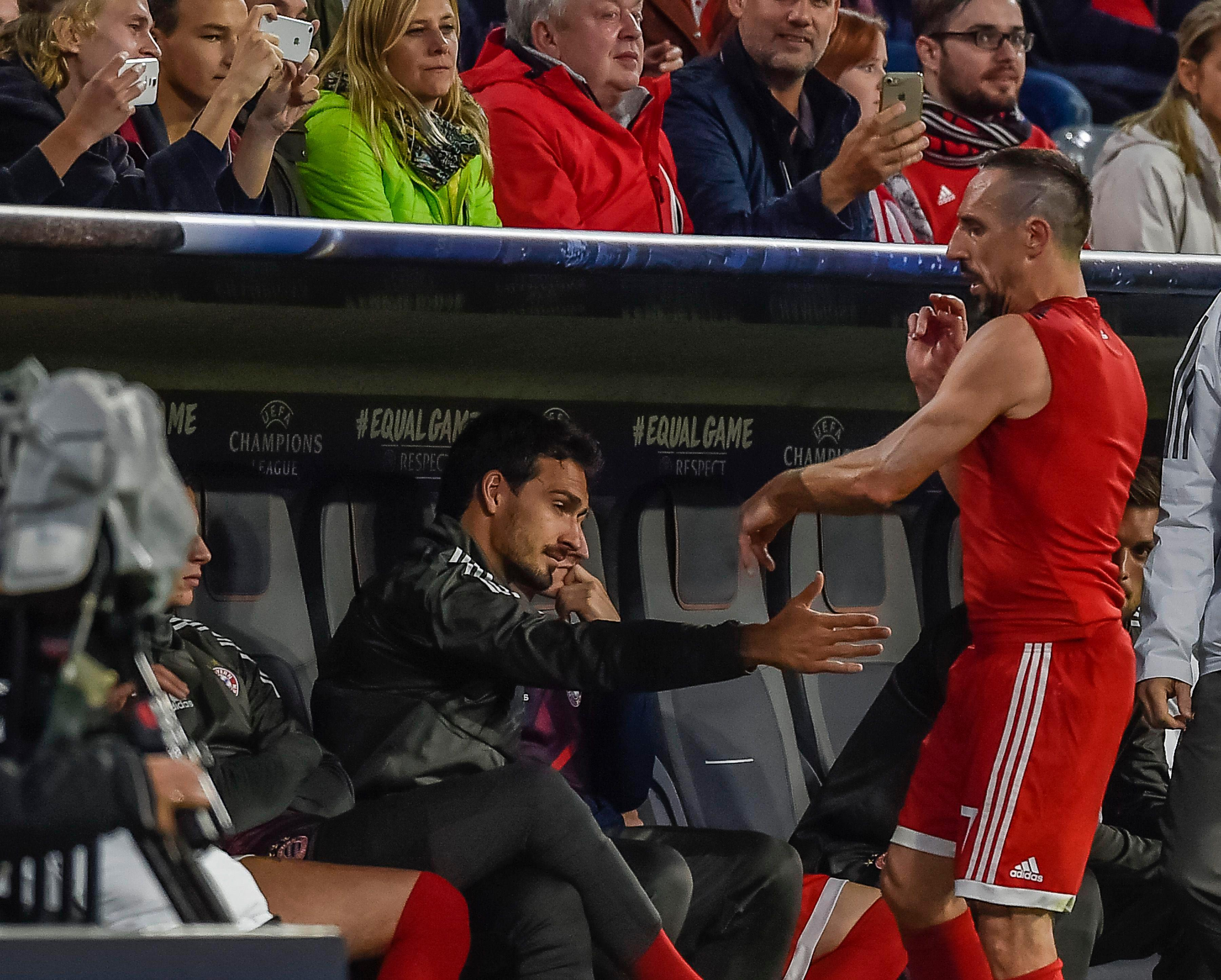 Franck Ribery was unimpressed at being subbed-off against Anderlecht