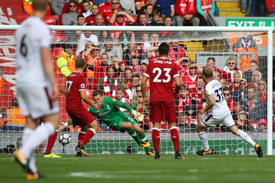 Scott Arfield fired Burnley into the lead at Anfield against Liverpool
