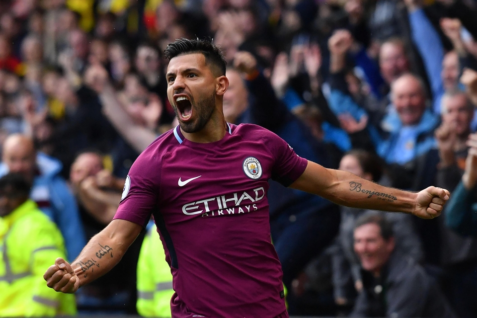 Aguero was the top scorer last weekend after his hat-trick at Watford