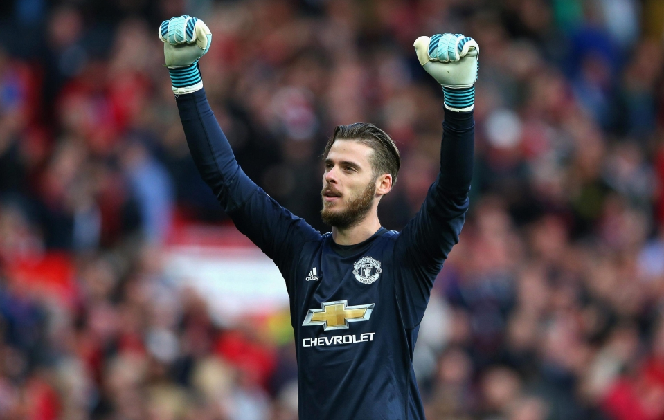 De Gea celebrates after Manchester United's victory against the Toffees at Old Trafford
