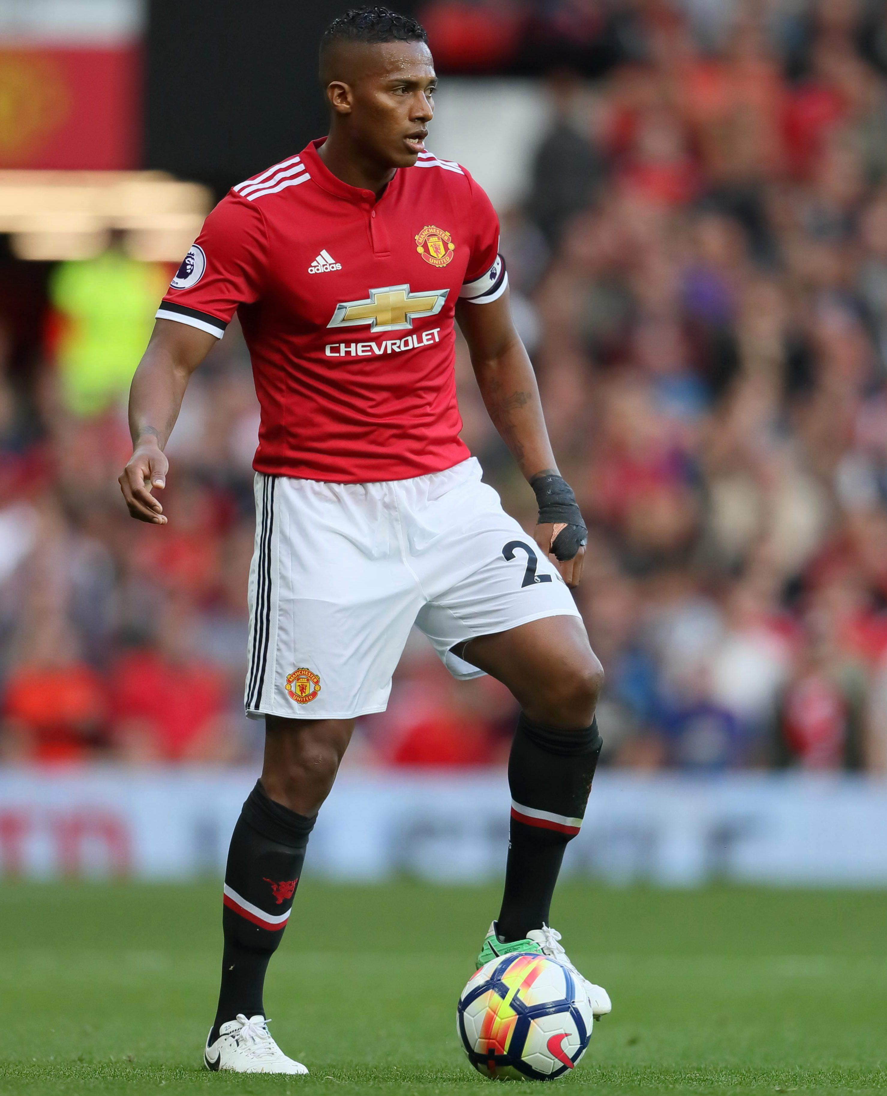 Antonio Valencia here, looking panicked as the ball touches his left foot