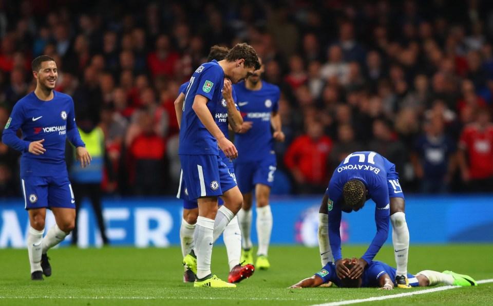 Musonda is mobbed by his team-mates