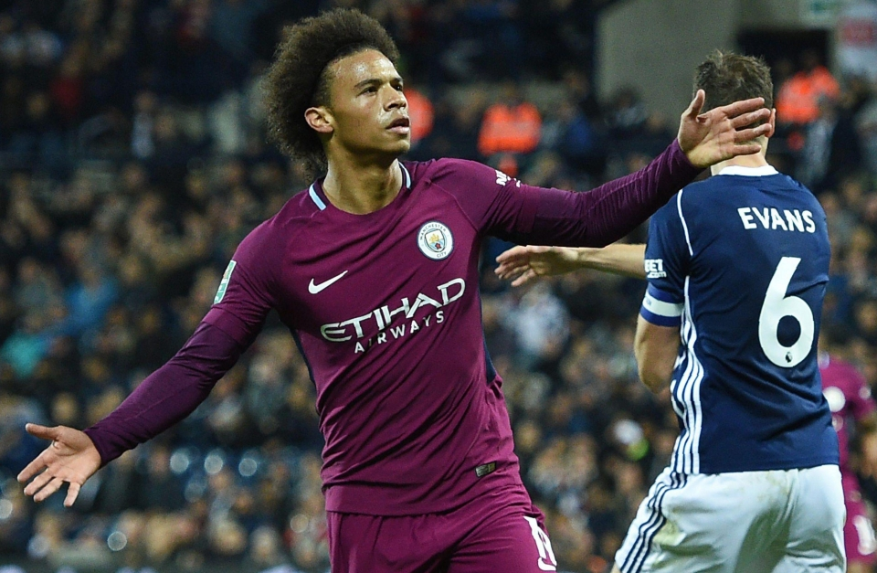 Leroy Sane takes the applause after his second City goal at the Hawthorns