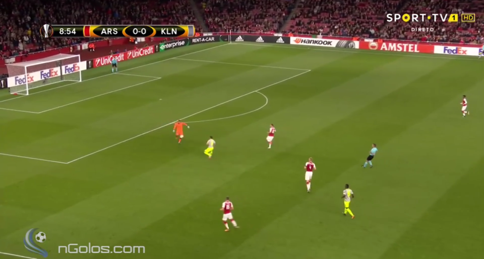 Ospina rushed off his line to clear the danger