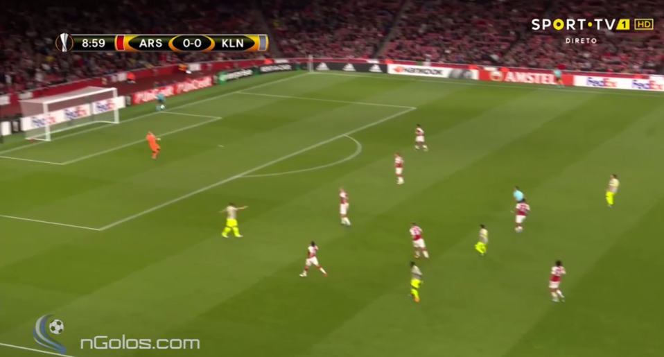 And expertly launched the ball over Ospina's head…