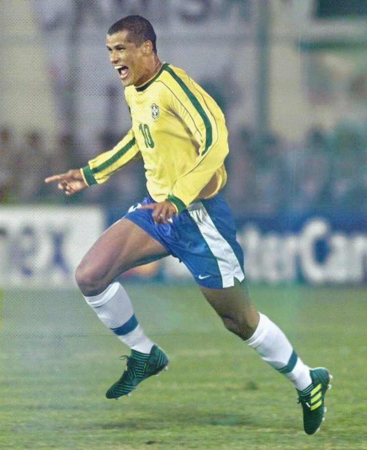 Rivaldo looks delighted with his new boots
