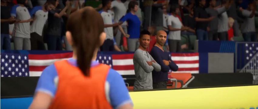 Alex and Henry watch Kim play for the US from the sidelines