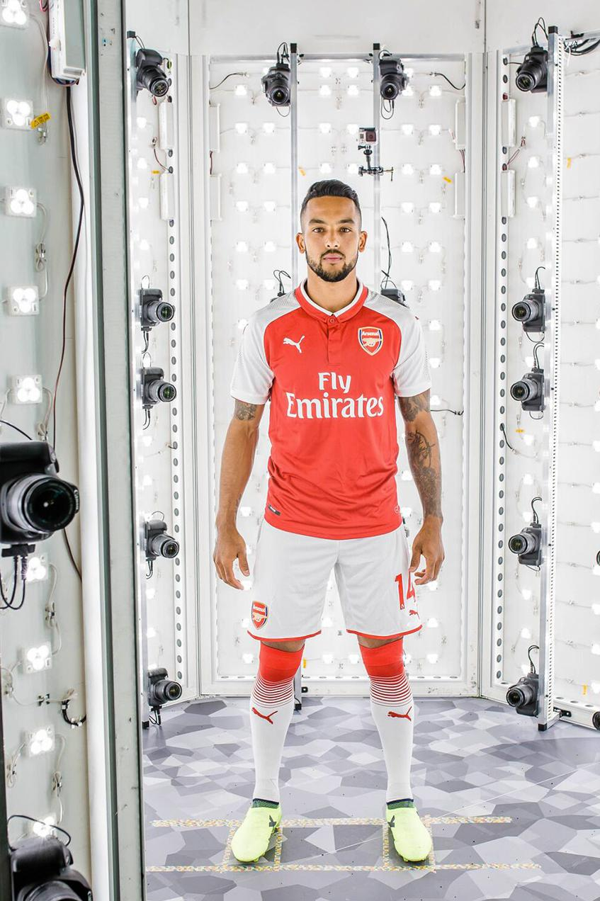 Theo Walcott, one of the game's fastest players, gets scanned for PES 2018