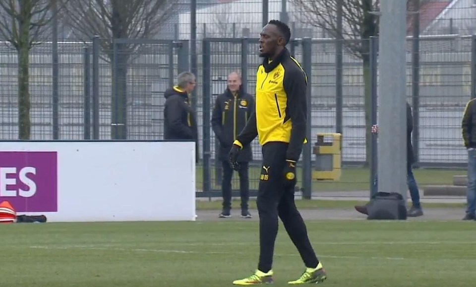 Bolt was live streamed on YouTube training with Dortmund on Friday