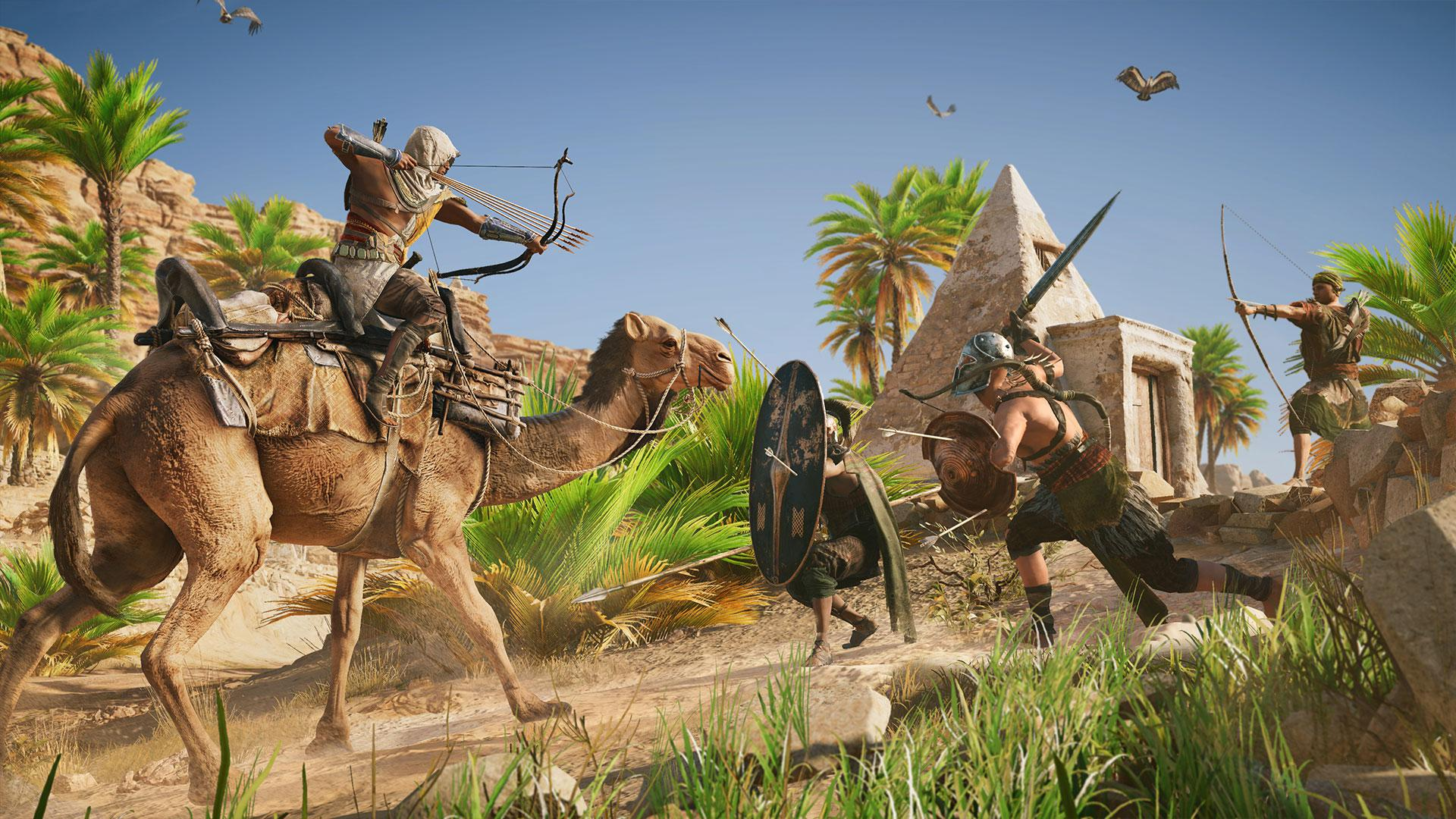 Bayek is able to ride camels and horses – as well as using boats to traverse the vast game world