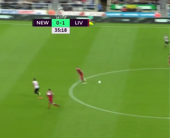 Shelvey spots the runner and sending a long pass over the top of Liverpool's hapless defence