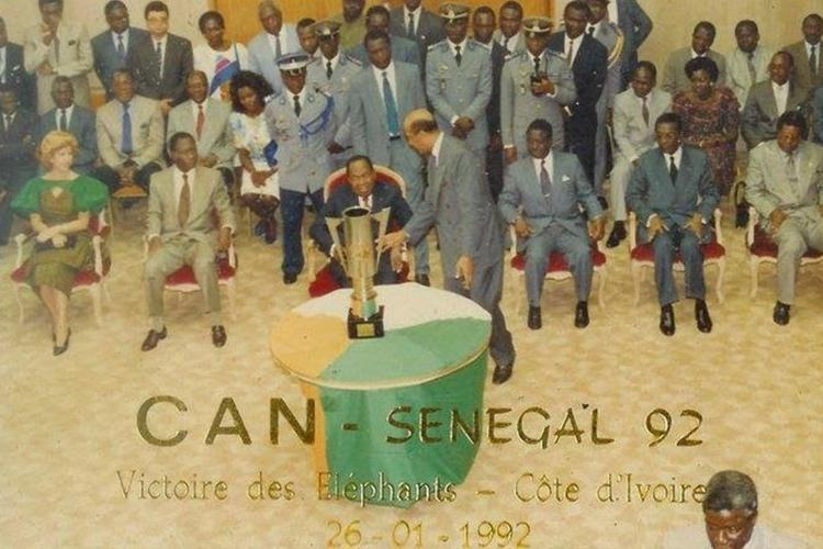 Ivory Coast are presented with their Cup of Nations trophy in 1992