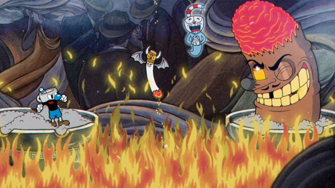 Cuphead's hand-drawn visuals contrast with the run and gun gameplay