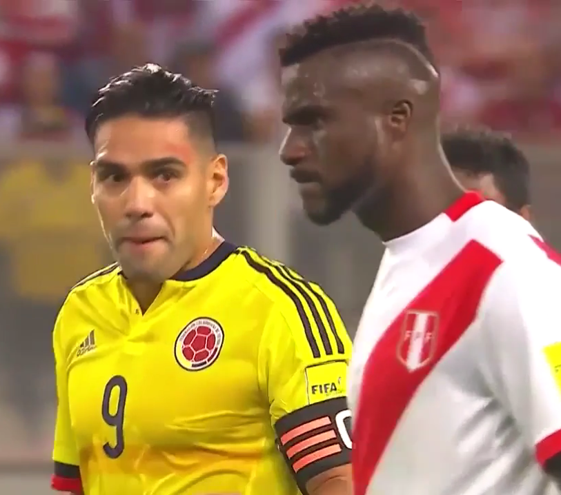 Falcao tries to get the attention of a Peru centre-back