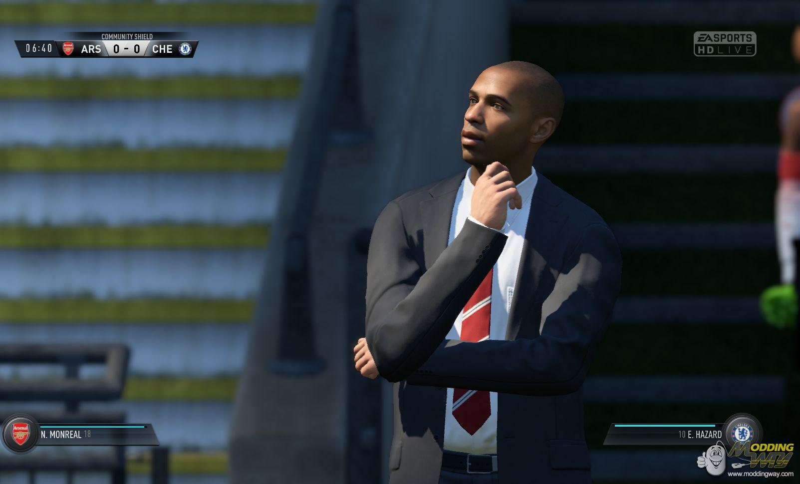Arsenal legend Thierry Henry playing as a manager in Career Mode