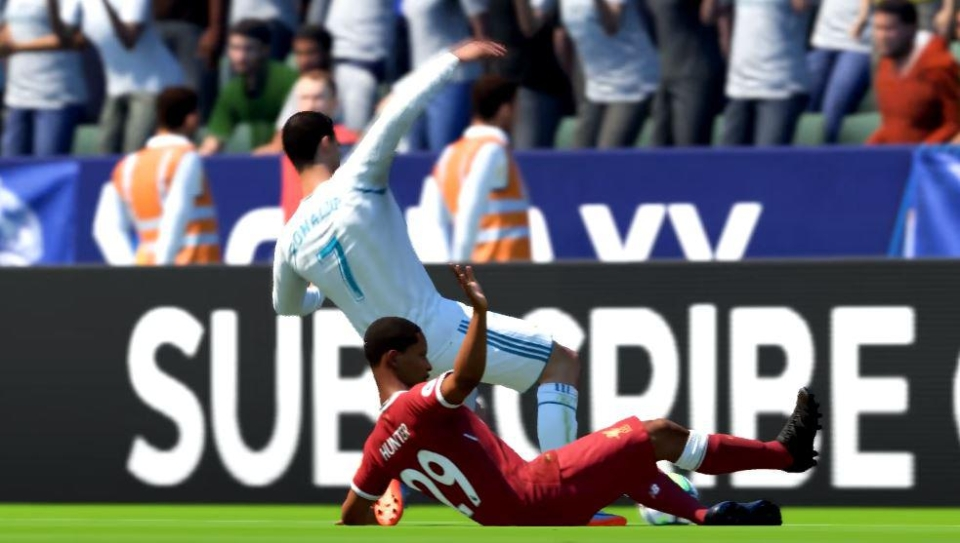 The young star keeps trying to injure the Portuguese – narrowly avoiding a second yellow