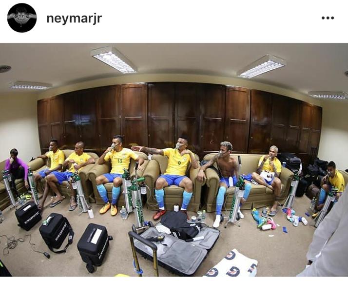 Neymar shared a snap of the team receiving oxygen after their 0-0 match against Brazil
