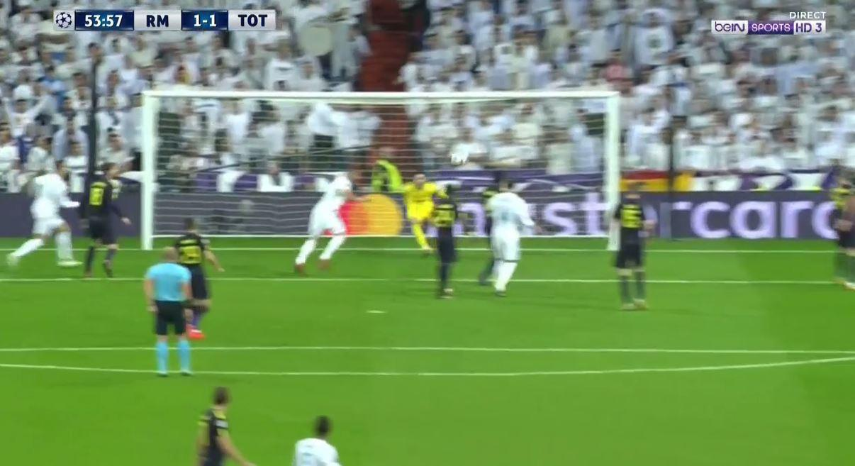 Benzema looks certain to score as the ball comes in