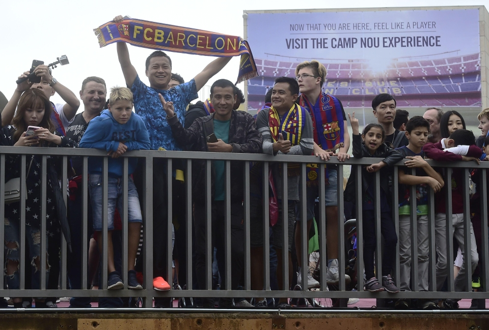 Barcelona fans picture outside the stadium