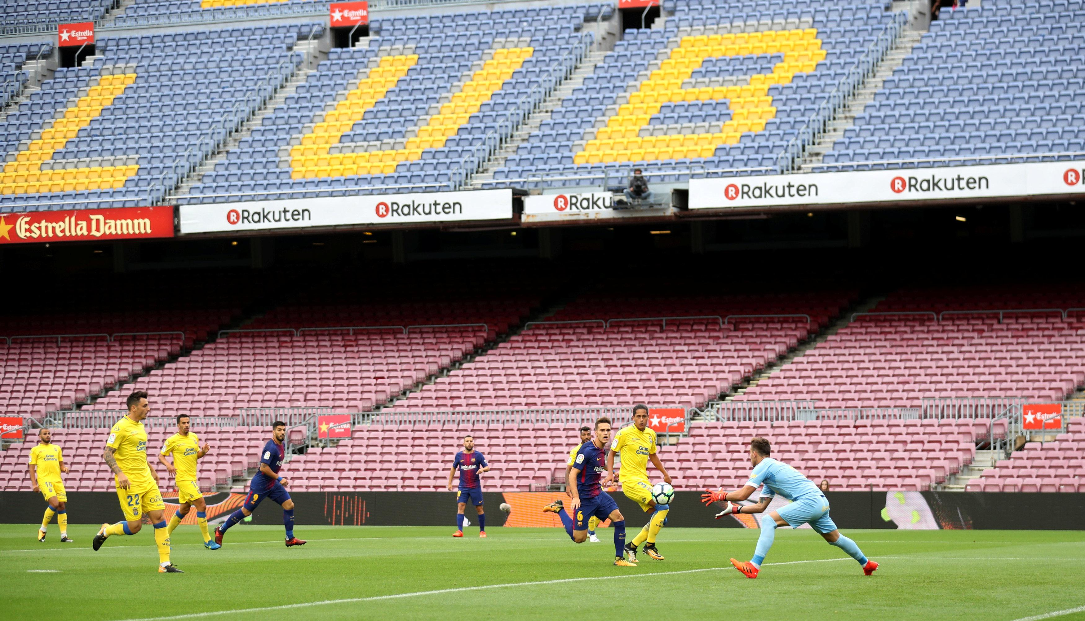 Barcelona's game against Las Palmas has gone ahead, inside an eerily empty Nou Camp
