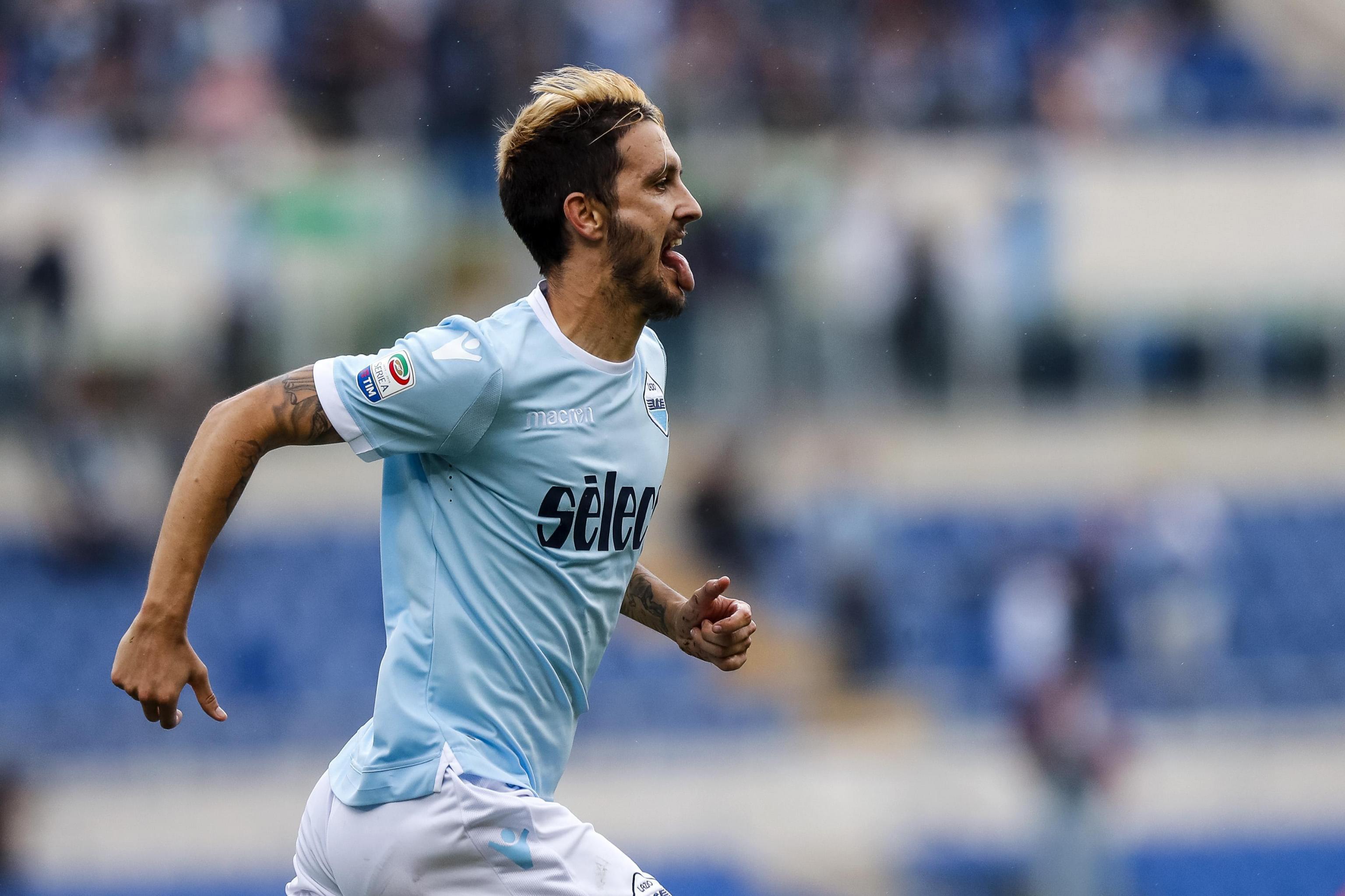Luis Alberto celebrates scoring a brilliant free kick against Sassuolo