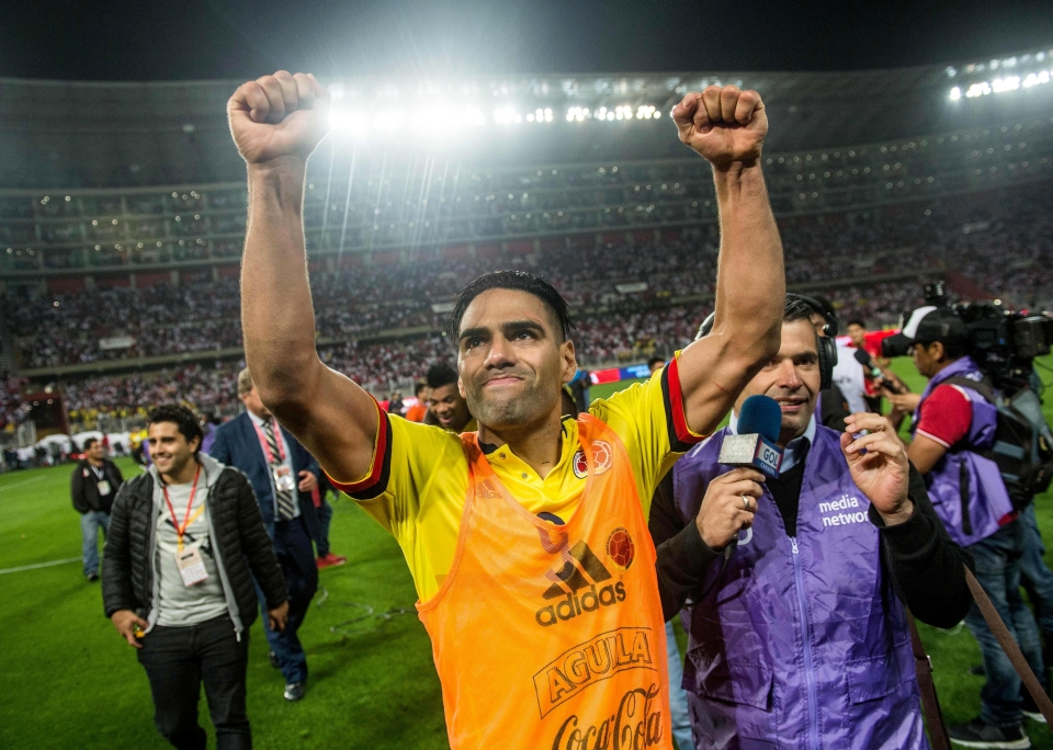 Radamel Falcao celebrates as Colombia qualify for the 2018 World Cup