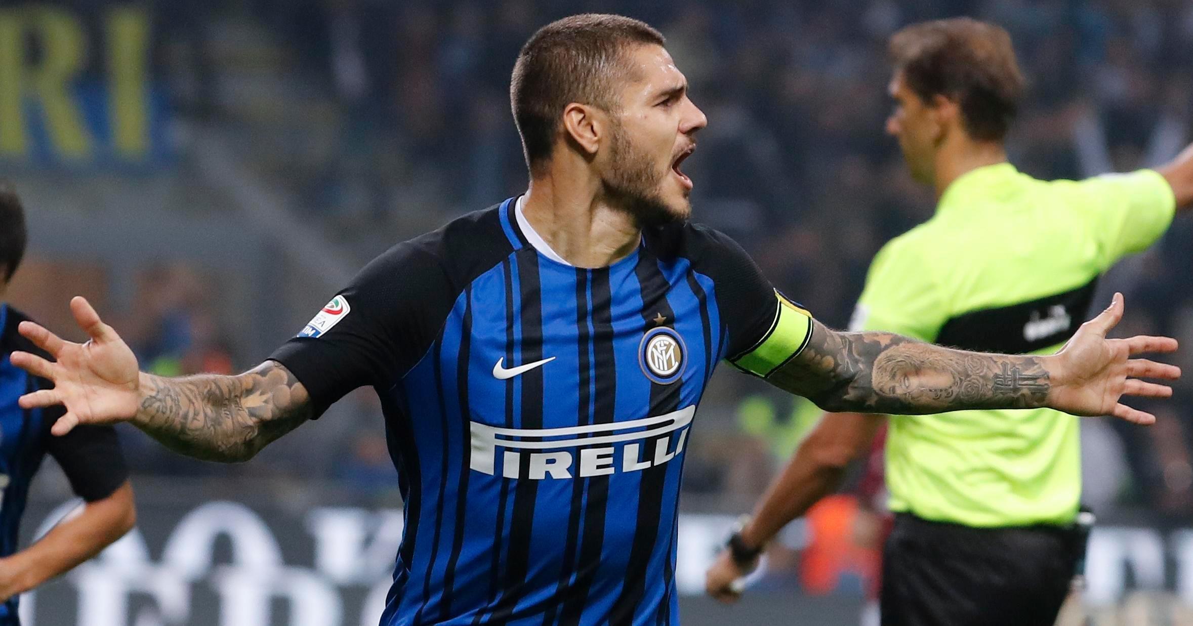 Mauro Icardi scored a hat-trick as Inter Milan beat AC 3-2