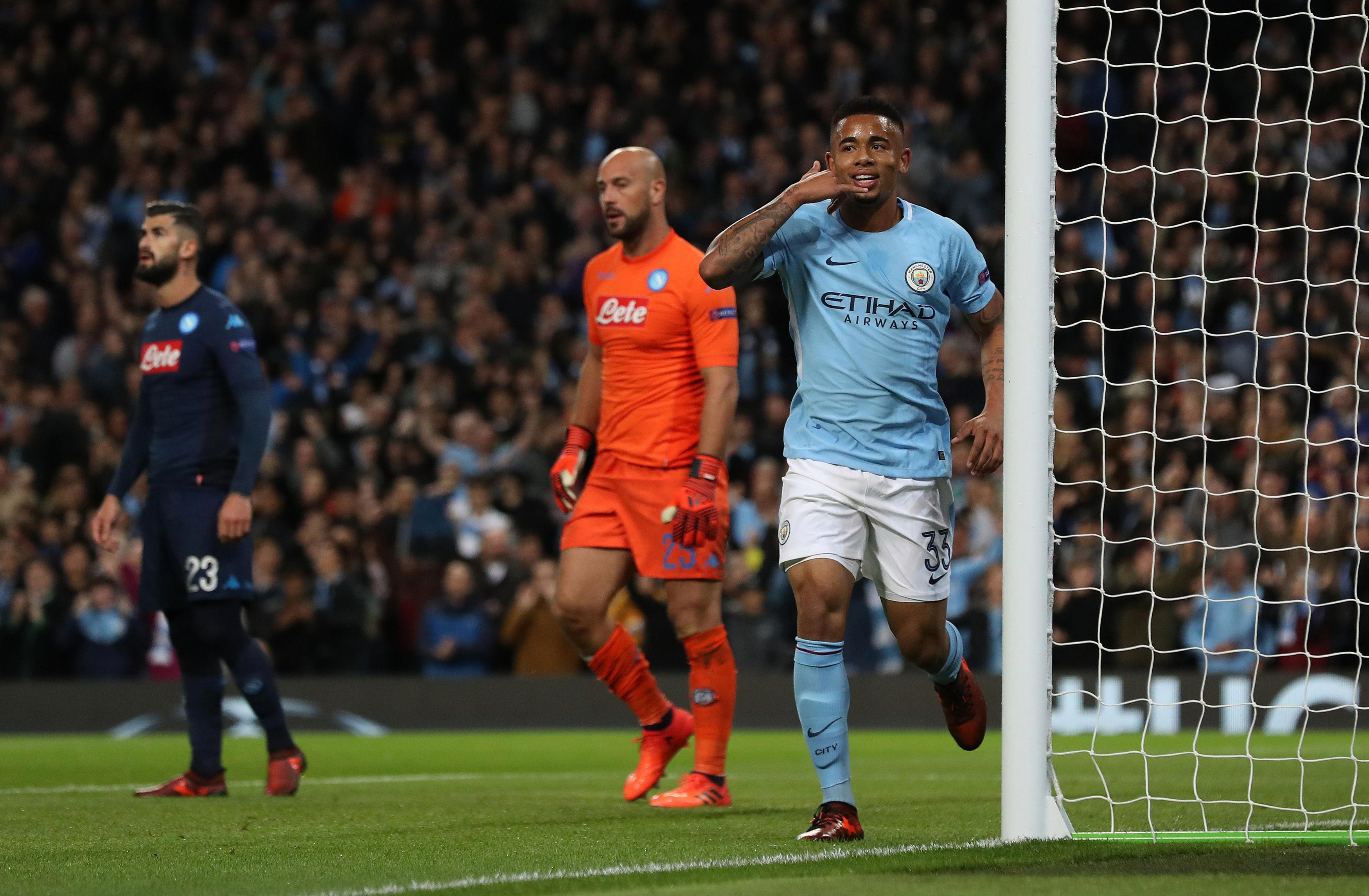 Gabriel Jesus scored City's second against Napoli on Tuesday night