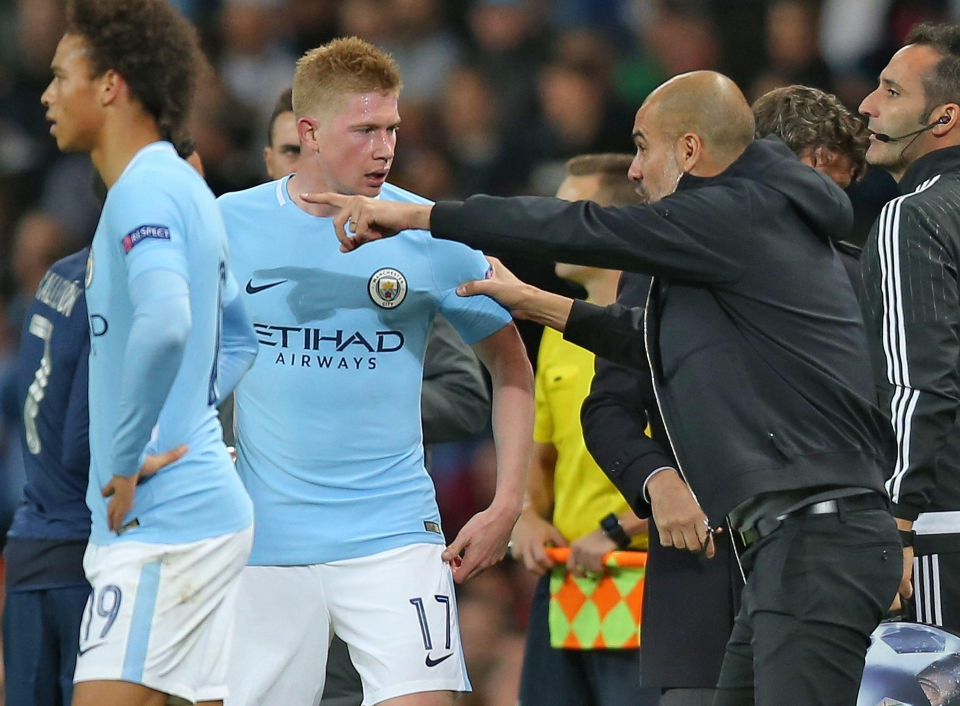 Kevin De Bruyne had a animated conversation with his boss pep Guardiola - and heated words with captain David Silva