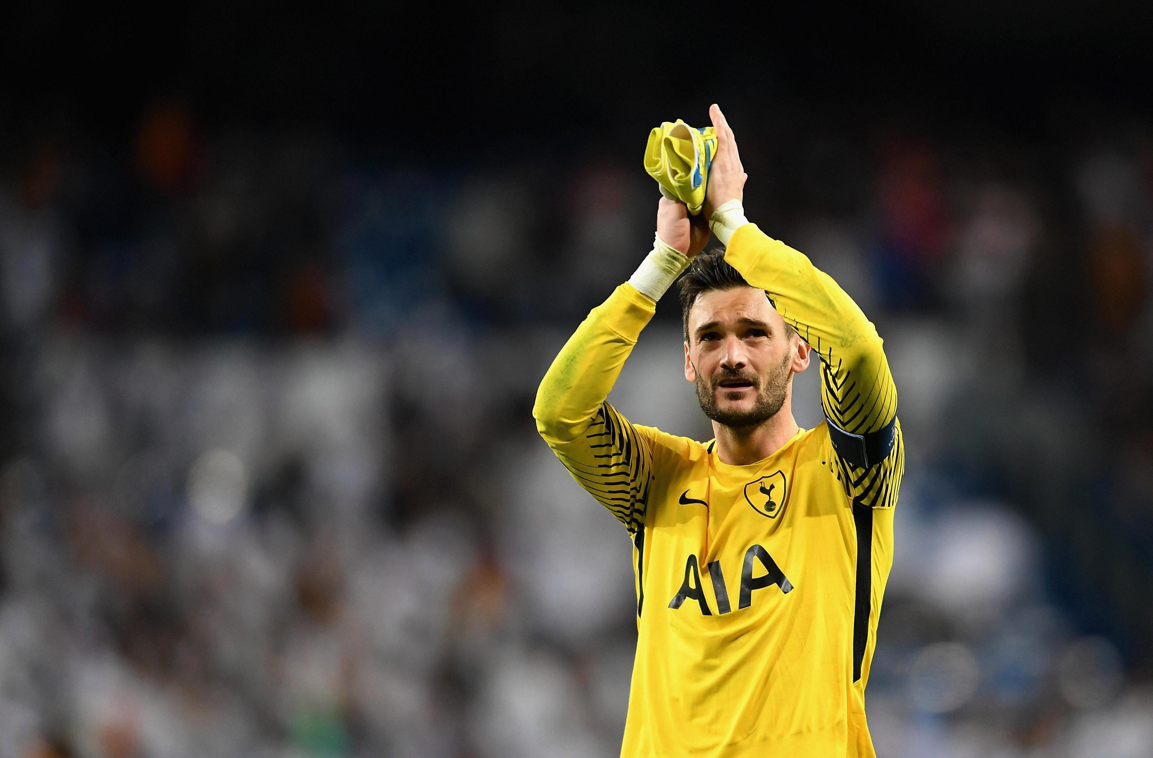 Hugo Lloris salutes the Tottenham fans after famous draw at Real Madrid