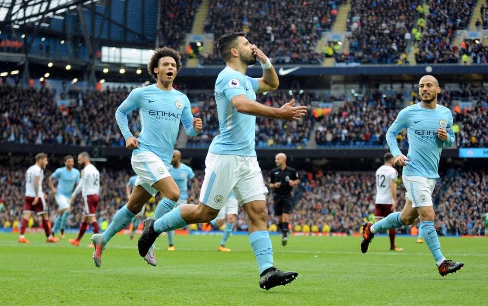 Sergio Aguero broke the Man City goal-scoring record against Burnley