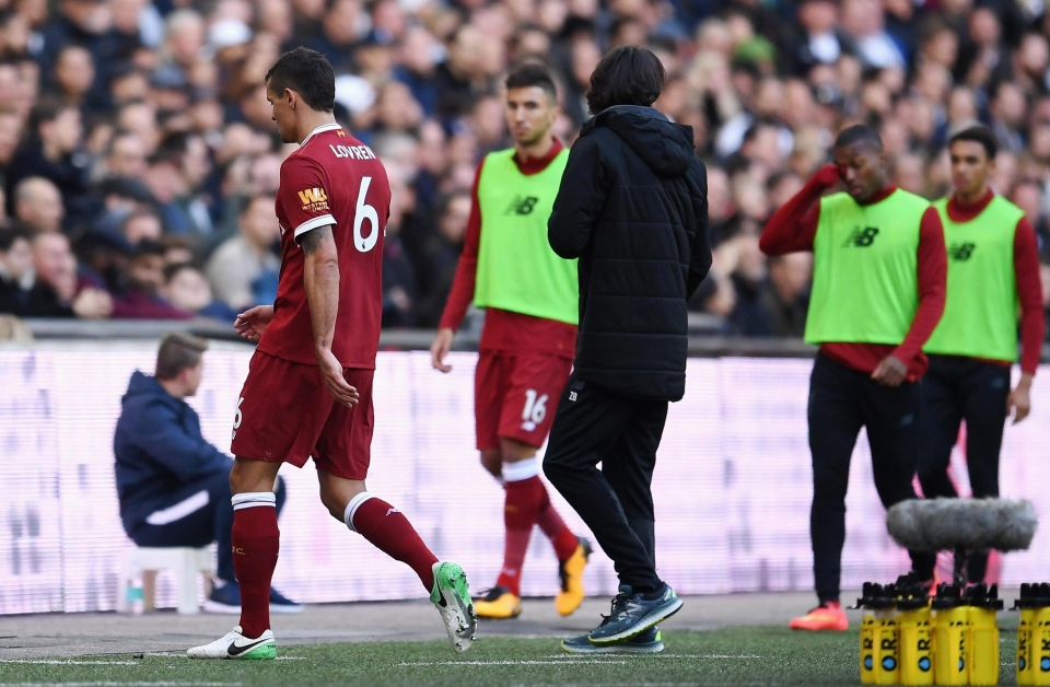 Lovren was removed before half time to spare more blushes