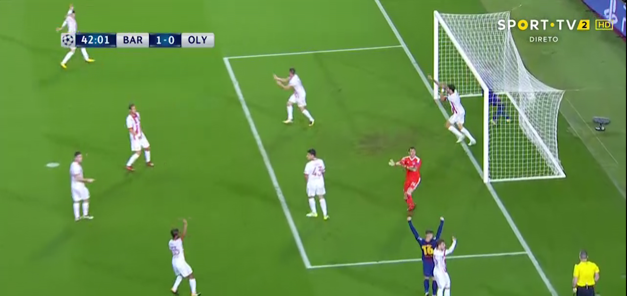 The Olympiakos defenders spotted it as clearly as the officials