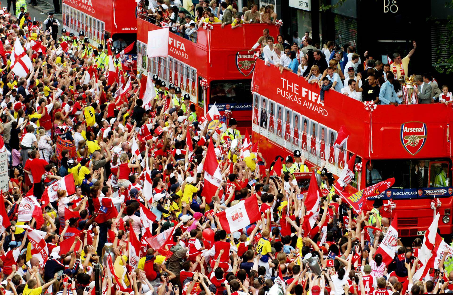 An artist's impression on how the Puskas Award open top bus parade may, but probably won't, look like